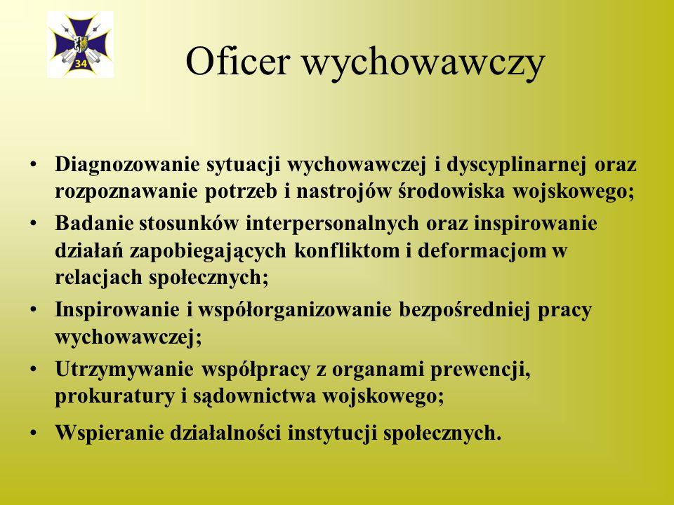 Oficer wychowawczy Diagnozowanie sytuacji wychowawczej i dyscyplinarnej oraz rozpoznawanie potrzeb i nastrojów środowiska wojskowego;