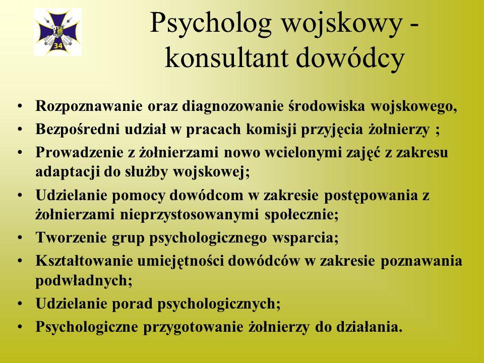 Psycholog wojskowy - konsultant dowódcy