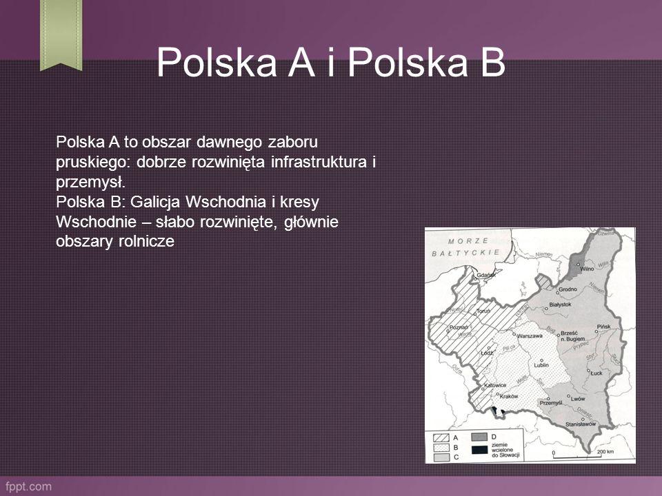 Polska A i Polska B Polska A to obszar dawnego zaboru pruskiego: dobrze rozwinięta infrastruktura i przemysł.