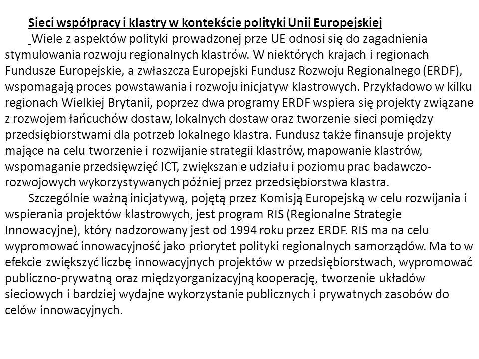 Sieci współpracy i klastry w kontekście polityki Unii Europejskiej
