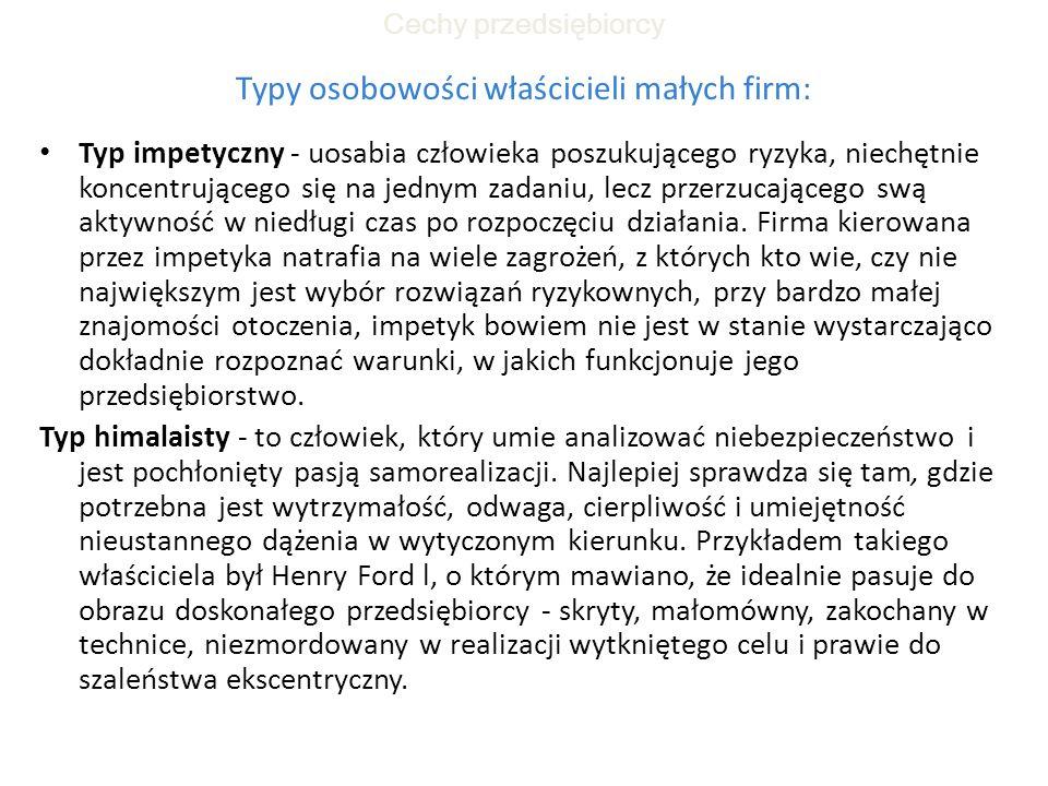 Typy osobowości właścicieli małych firm: