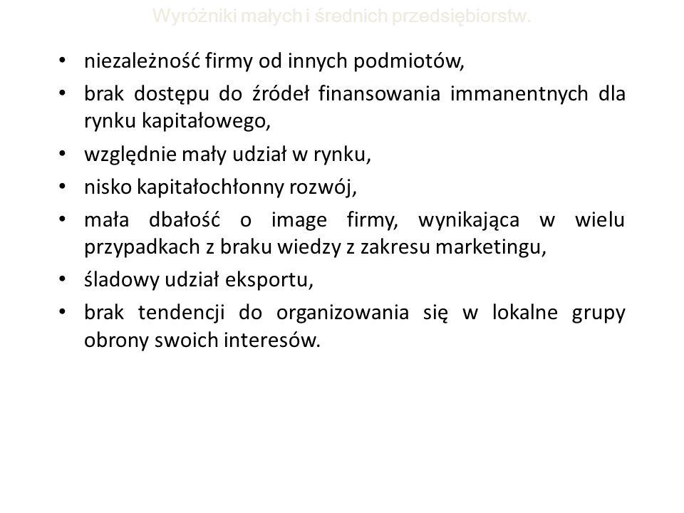 Wyróżniki małych i średnich przedsiębiorstw.