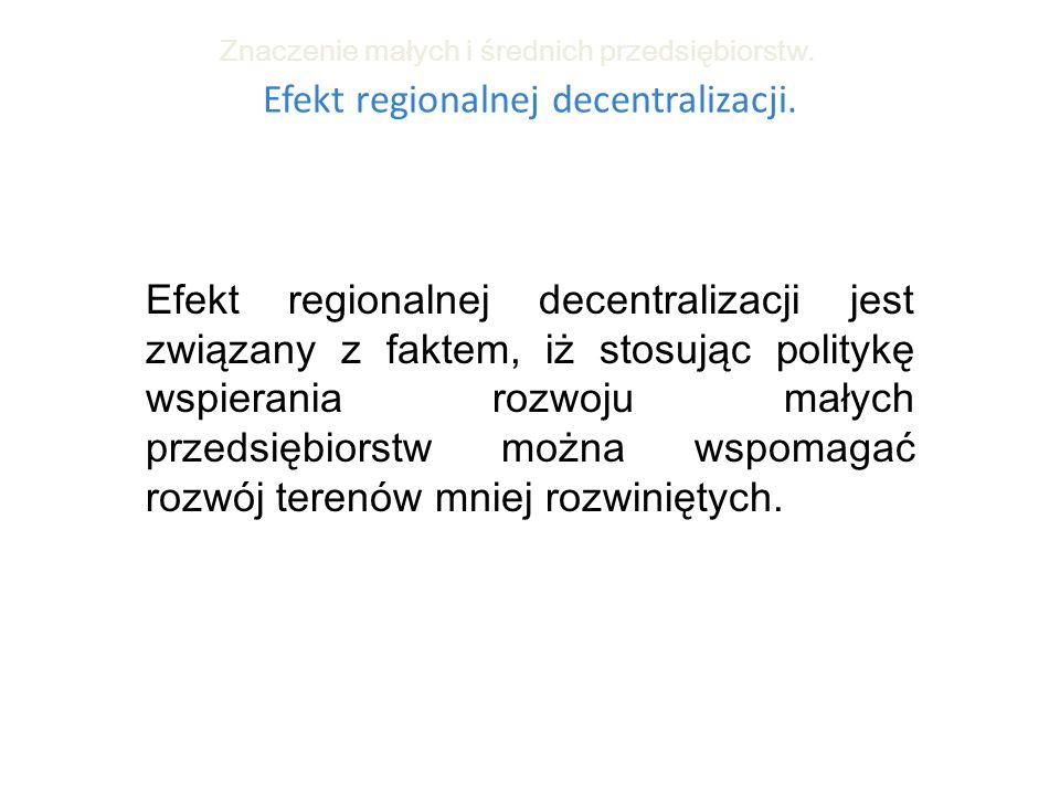 Efekt regionalnej decentralizacji.