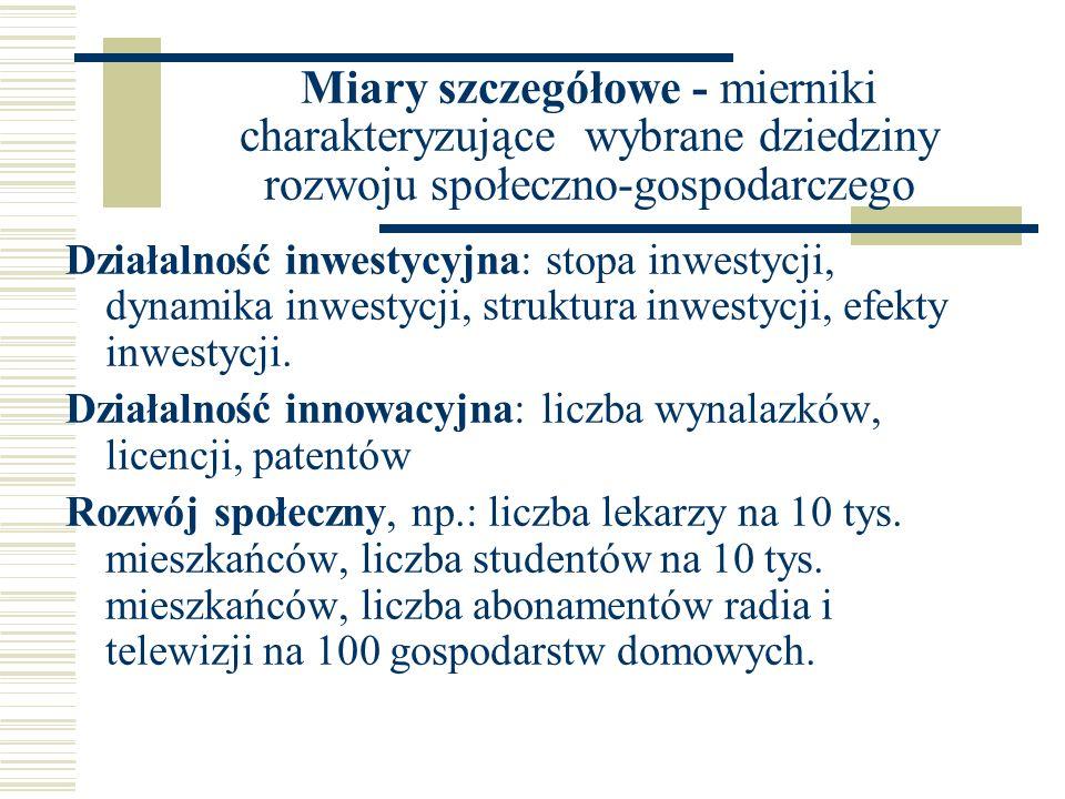 Miary szczegółowe - mierniki charakteryzujące wybrane dziedziny rozwoju społeczno-gospodarczego