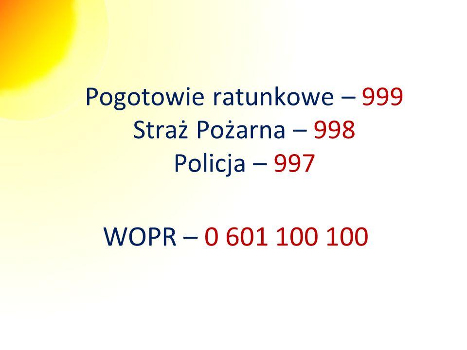 Pogotowie ratunkowe – 999 Straż Pożarna – 998 Policja – 997