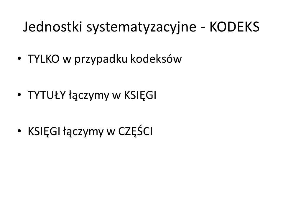 Jednostki systematyzacyjne - KODEKS