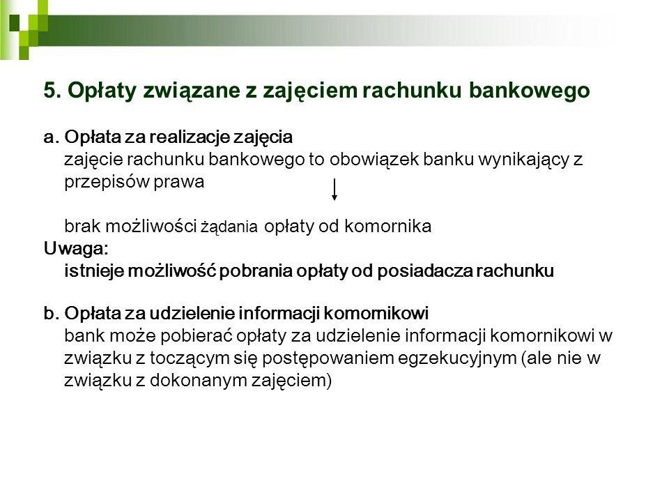 5. Opłaty związane z zajęciem rachunku bankowego