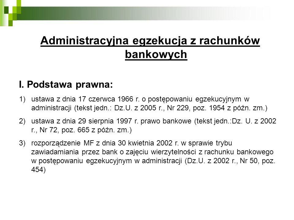 Administracyjna egzekucja z rachunków bankowych