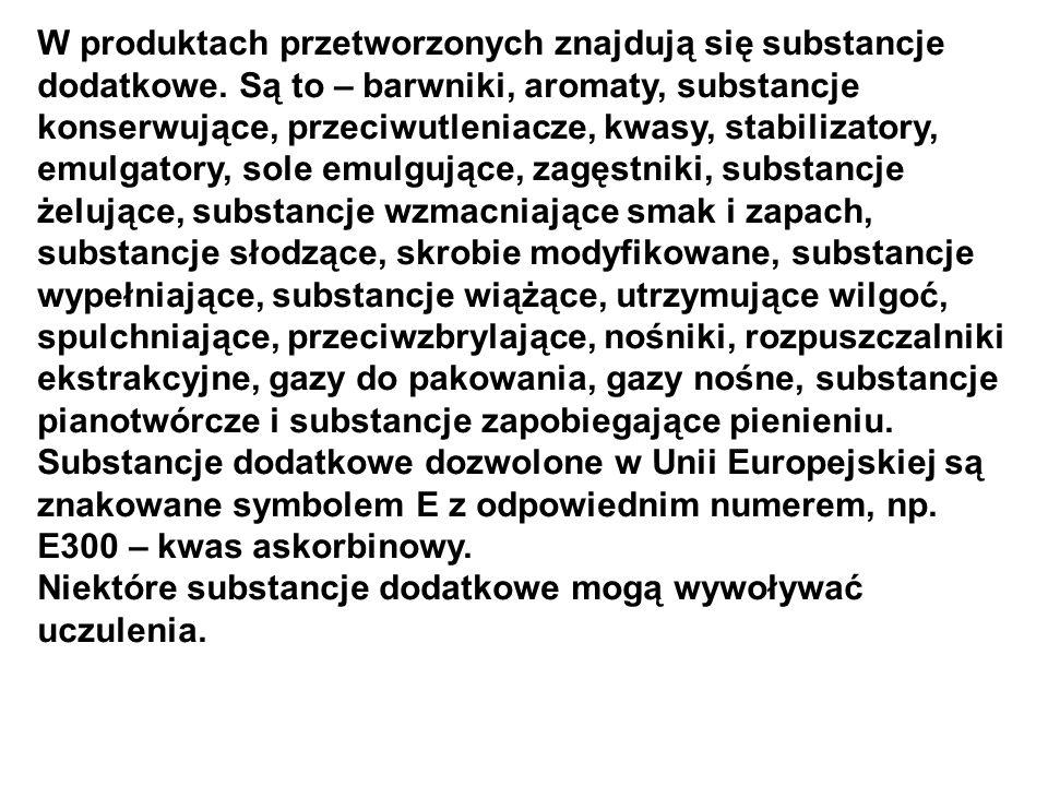 W produktach przetworzonych znajdują się substancje dodatkowe