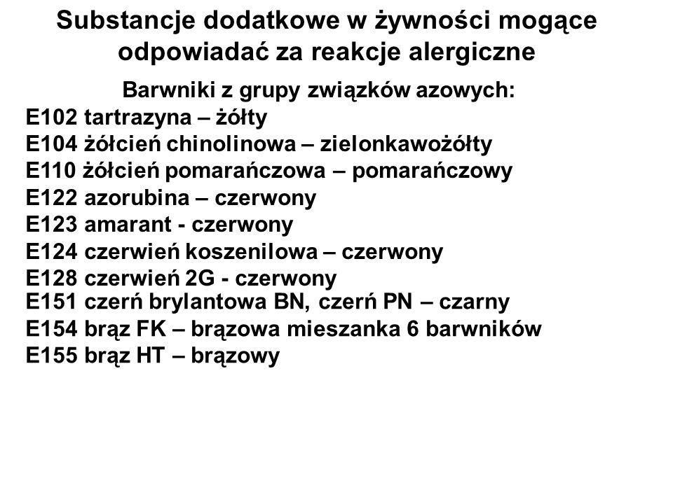 Barwniki z grupy związków azowych: