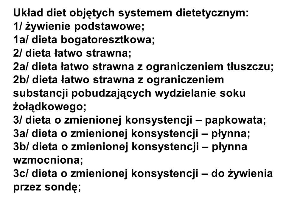 Układ diet objętych systemem dietetycznym: