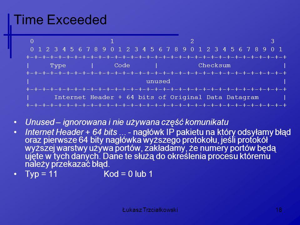 Time Exceeded Unused – ignorowana i nie używana część komunikatu