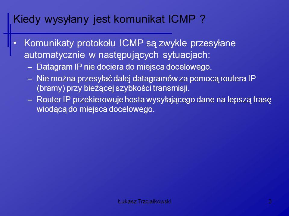 Kiedy wysyłany jest komunikat ICMP