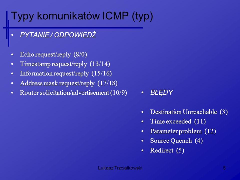 Typy komunikatów ICMP (typ)