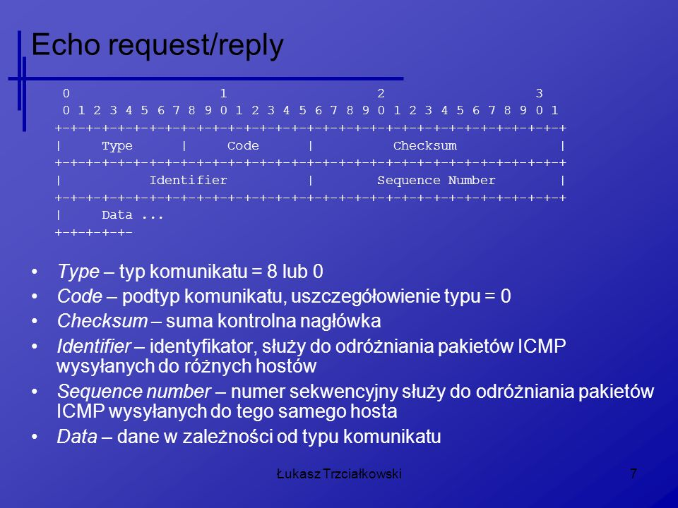 Echo request/reply Type – typ komunikatu = 8 lub 0