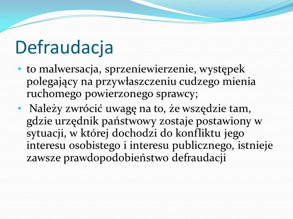 Defraudacja to malwersacja, sprzeniewierzenie, występek polegający na przywłaszczeniu cudzego mienia ruchomego powierzonego sprawcy;