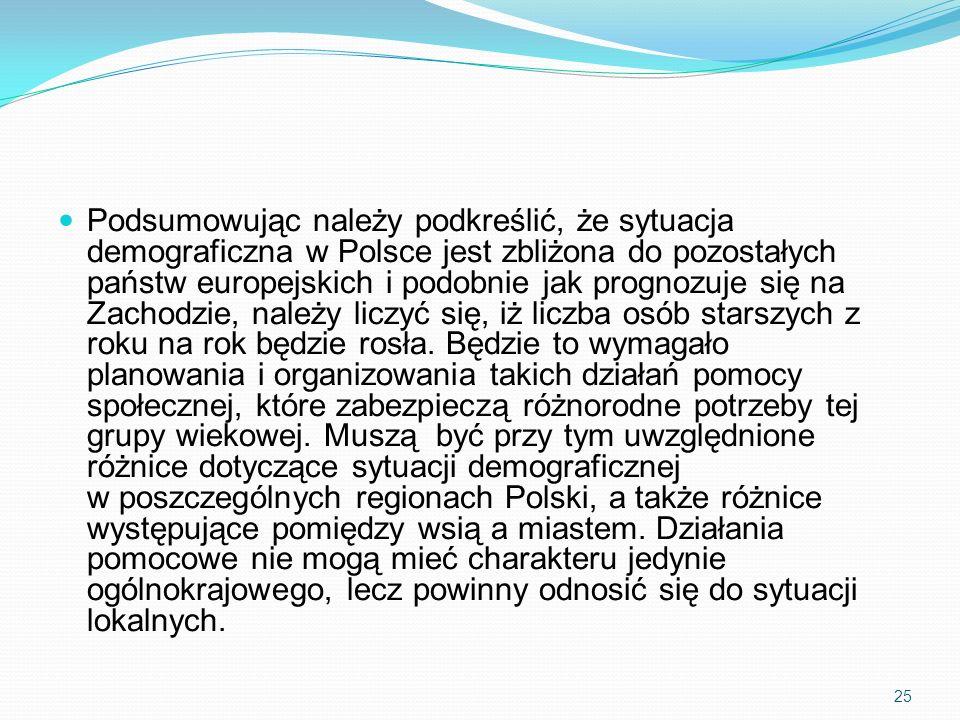 Podsumowując należy podkreślić, że sytuacja demograficzna w Polsce jest zbliżona do pozostałych państw europejskich i podobnie jak prognozuje się na Zachodzie, należy liczyć się, iż liczba osób starszych z roku na rok będzie rosła.