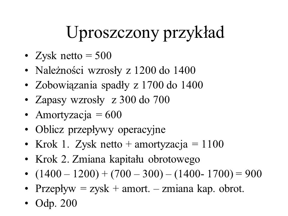 Uproszczony przykład Zysk netto = 500