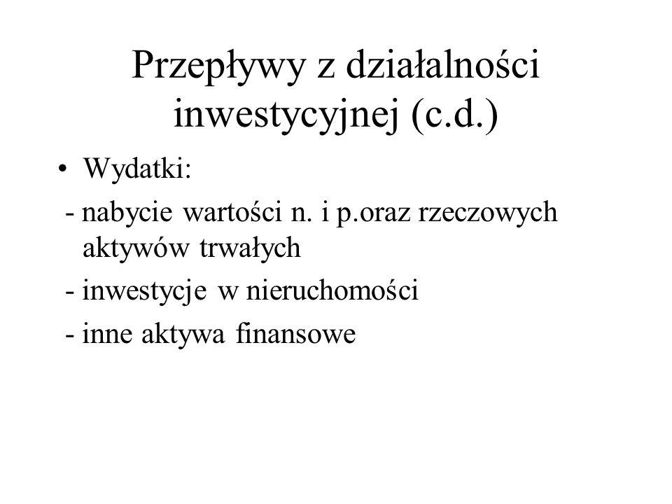 Przepływy z działalności inwestycyjnej (c.d.)