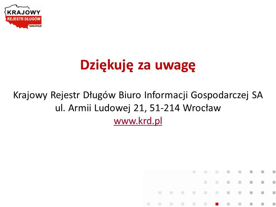 Dziękuję za uwagę Krajowy Rejestr Długów Biuro Informacji Gospodarczej SA ul.
