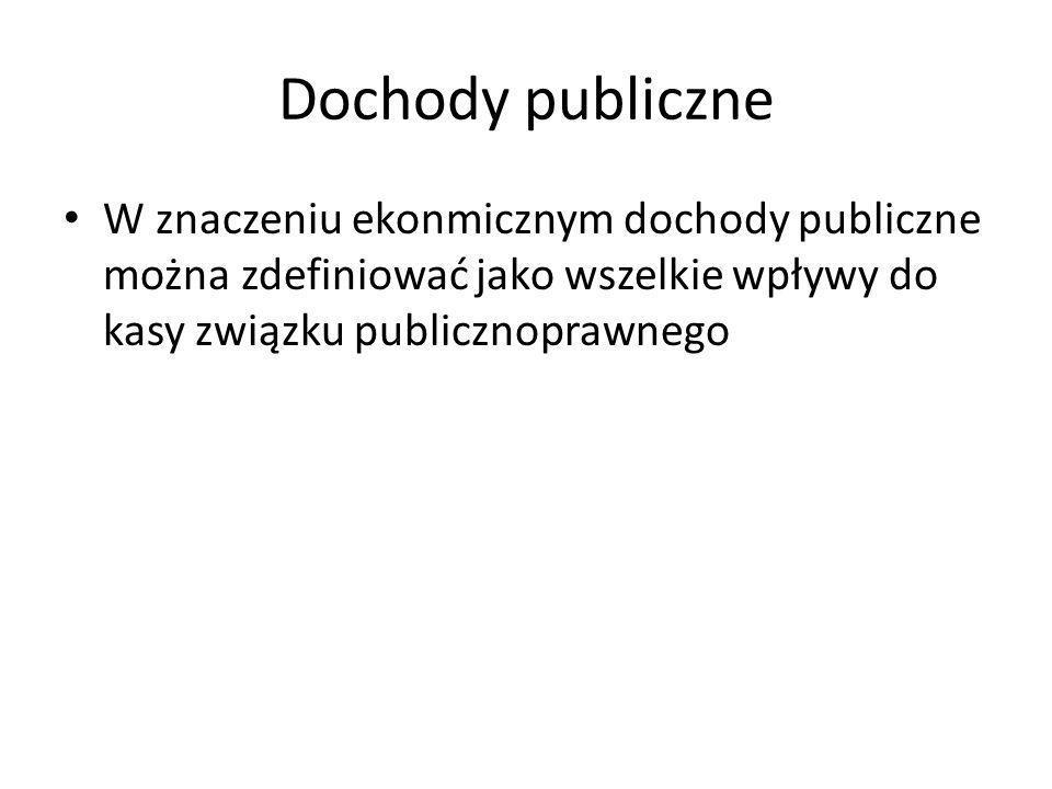 Dochody publiczne W znaczeniu ekonmicznym dochody publiczne można zdefiniować jako wszelkie wpływy do kasy związku publicznoprawnego.