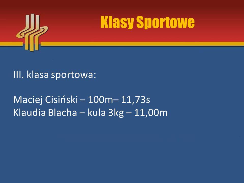 Klasy Sportowe III. klasa sportowa: Maciej Cisiński – 100m– 11,73s