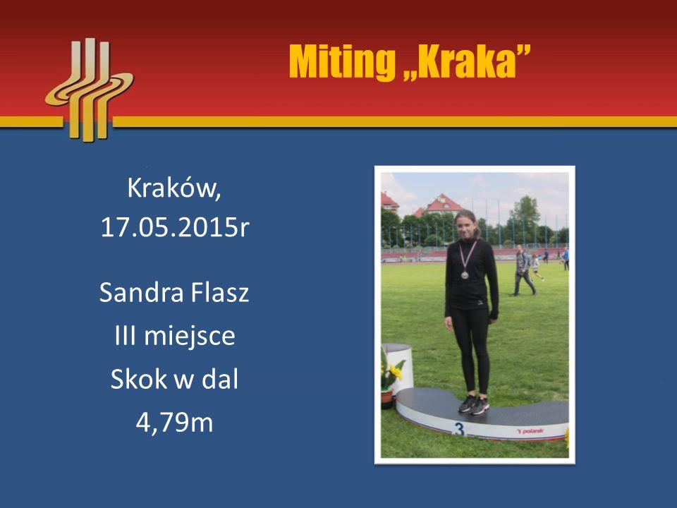 """Miting """"Kraka Kraków, 17.05.2015r Sandra Flasz III miejsce Skok w dal"""