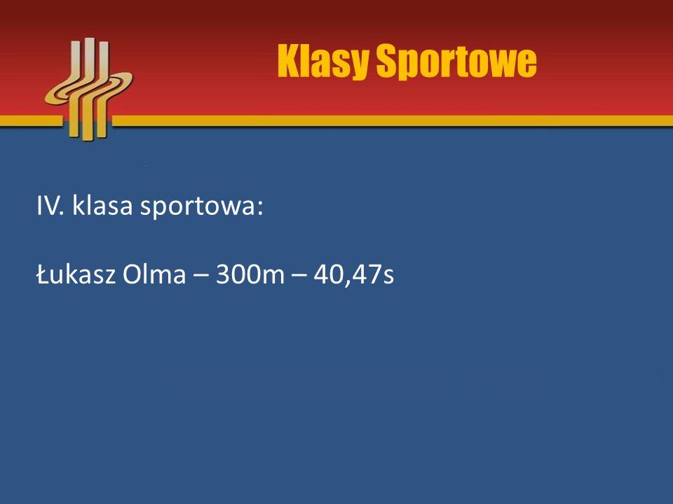 Klasy Sportowe IV. klasa sportowa: Łukasz Olma – 300m – 40,47s