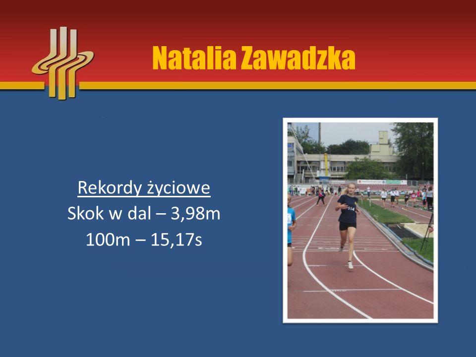 Natalia Zawadzka Rekordy życiowe Skok w dal – 3,98m 100m – 15,17s