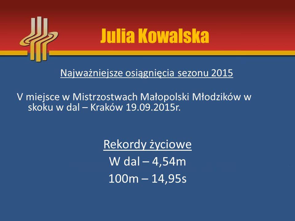 Julia Kowalska Rekordy życiowe W dal – 4,54m 100m – 14,95s