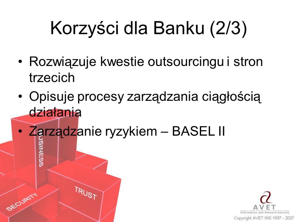 Korzyści dla Banku (2/3) Rozwiązuje kwestie outsourcingu i stron trzecich. Opisuje procesy zarządzania ciągłością działania.