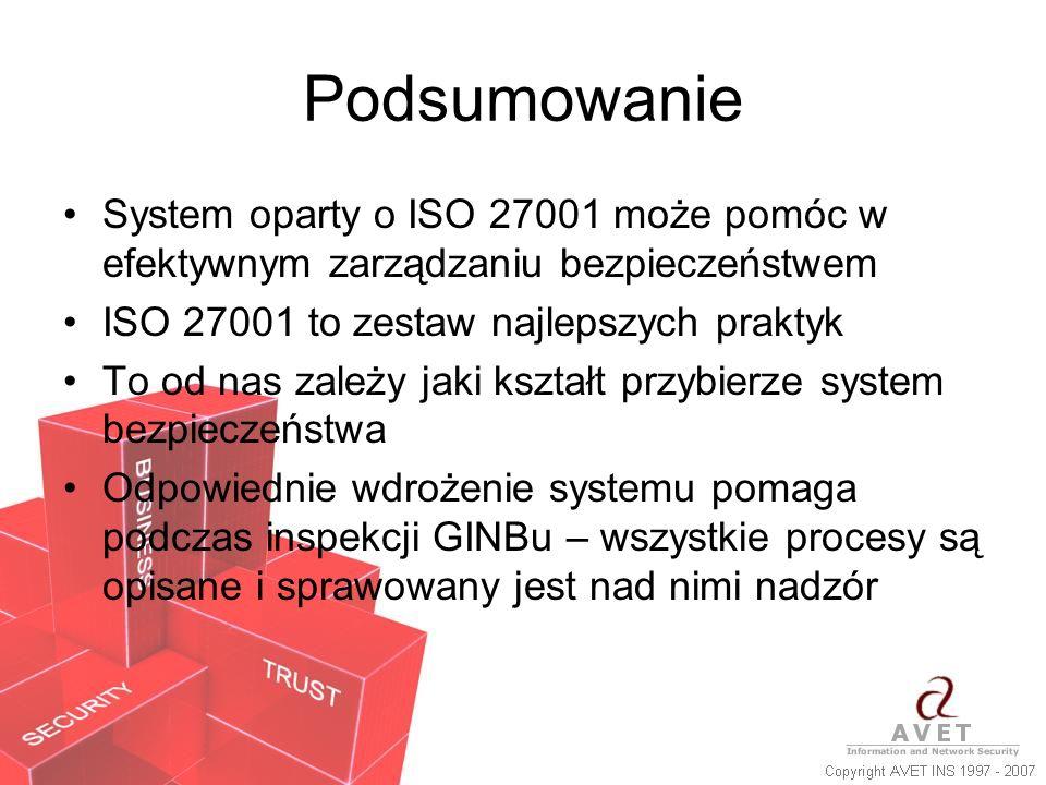 PodsumowanieSystem oparty o ISO 27001 może pomóc w efektywnym zarządzaniu bezpieczeństwem. ISO 27001 to zestaw najlepszych praktyk.