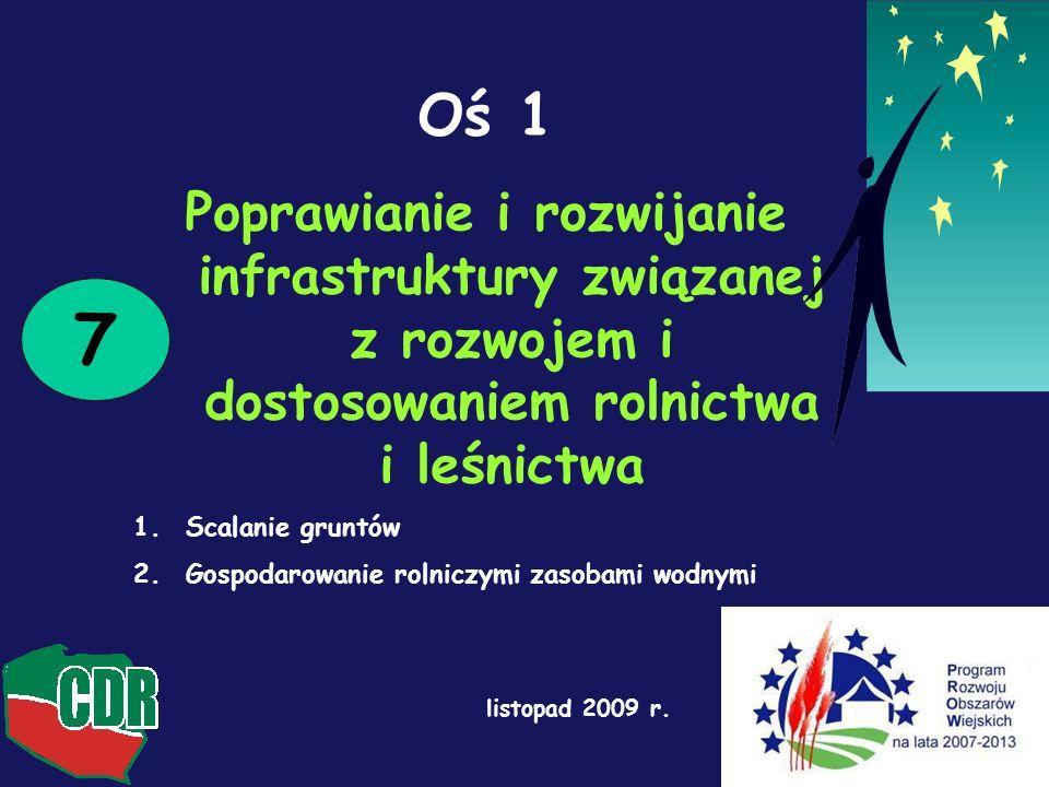 Oś 1 Poprawianie i rozwijanie infrastruktury związanej z rozwojem i dostosowaniem rolnictwa i leśnictwa.