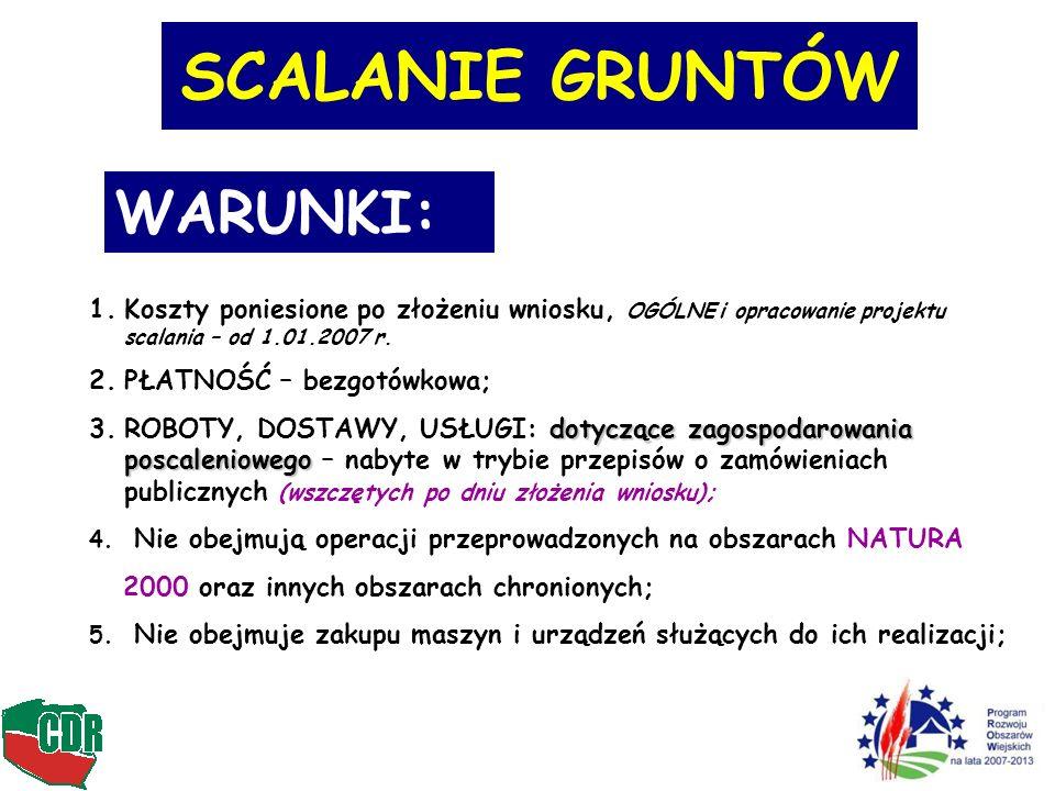 SCALANIE GRUNTÓW WARUNKI: