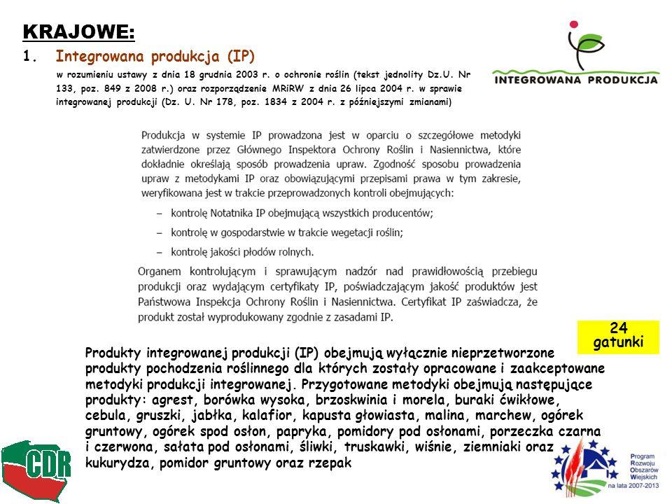 KRAJOWE: Integrowana produkcja (IP) 24 gatunki