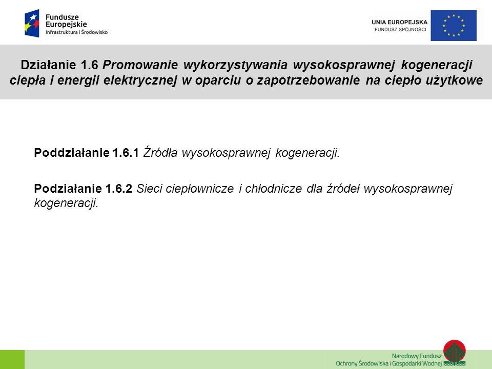 Działanie 1.6 Promowanie wykorzystywania wysokosprawnej kogeneracji ciepła i energii elektrycznej w oparciu o zapotrzebowanie na ciepło użytkowe