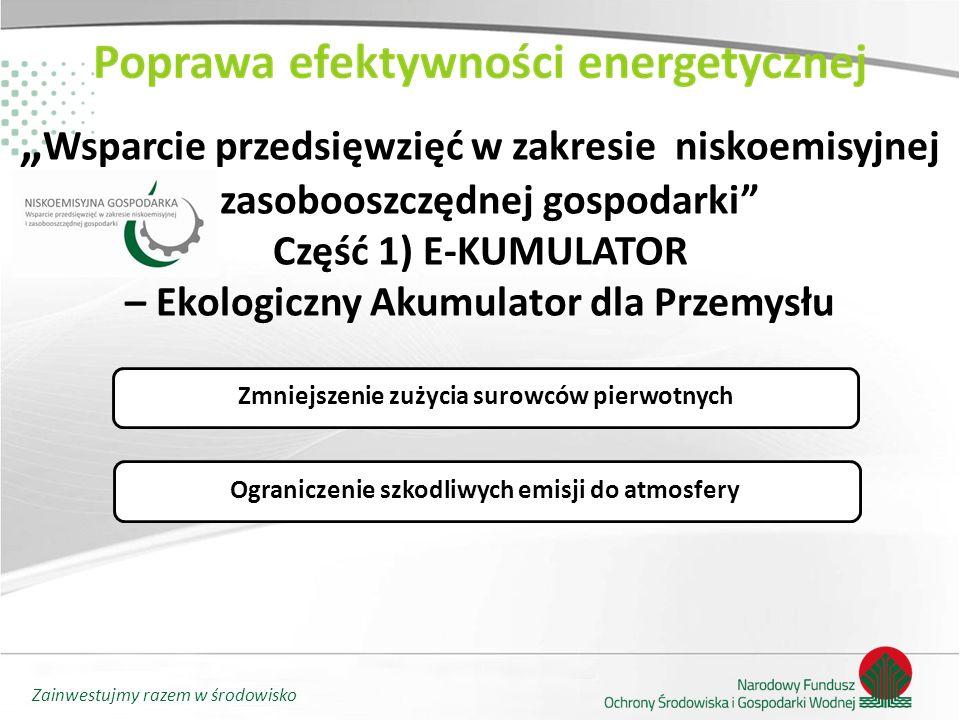"""""""Wsparcie przedsięwzięć w zakresie niskoemisyjnej i zasobooszczędnej gospodarki Część 1) E-KUMULATOR – Ekologiczny Akumulator dla Przemysłu"""