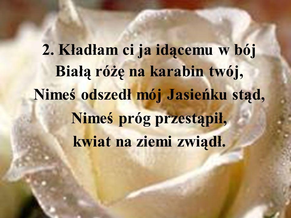 2. Kładłam ci ja idącemu w bój Białą różę na karabin twój,