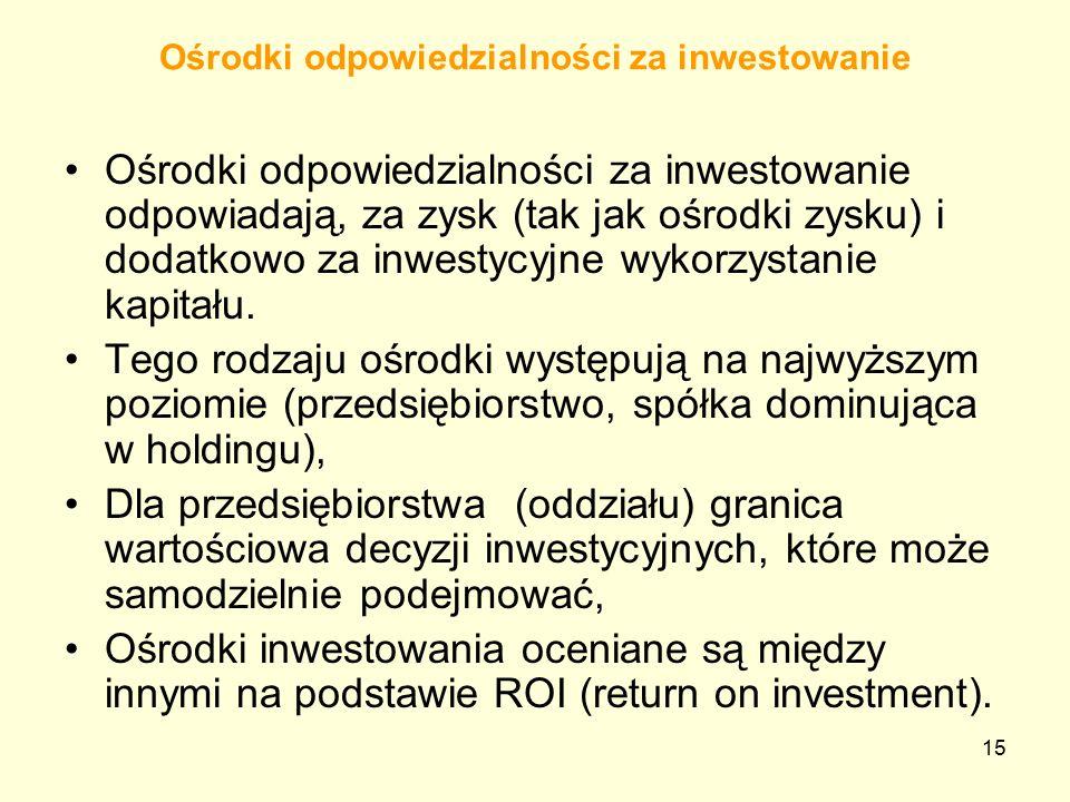 Ośrodki odpowiedzialności za inwestowanie