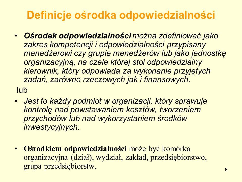 Definicje ośrodka odpowiedzialności