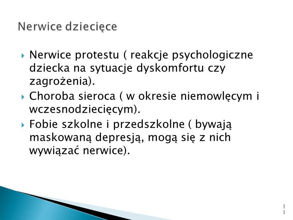 Nerwice dziecięce Nerwice protestu ( reakcje psychologiczne dziecka na sytuacje dyskomfortu czy zagrożenia).
