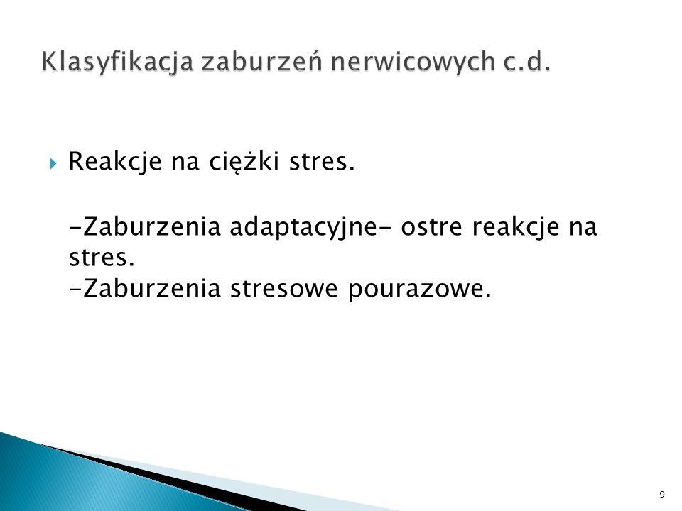 Klasyfikacja zaburzeń nerwicowych c.d.