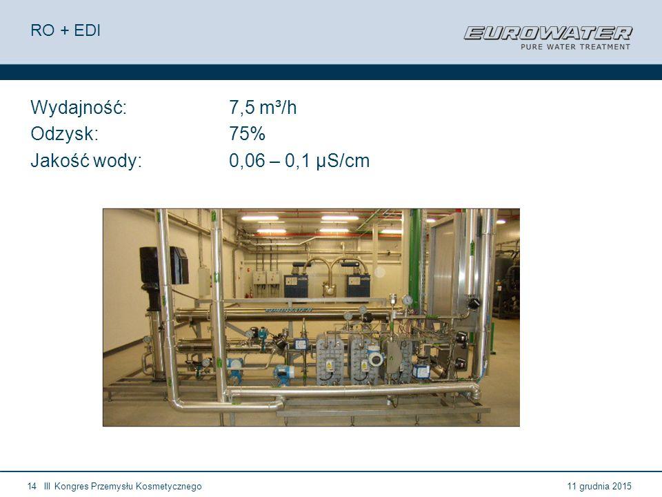 Wydajność: 7,5 m³/h Odzysk: 75% Jakość wody: 0,06 – 0,1 µS/cm RO + EDI