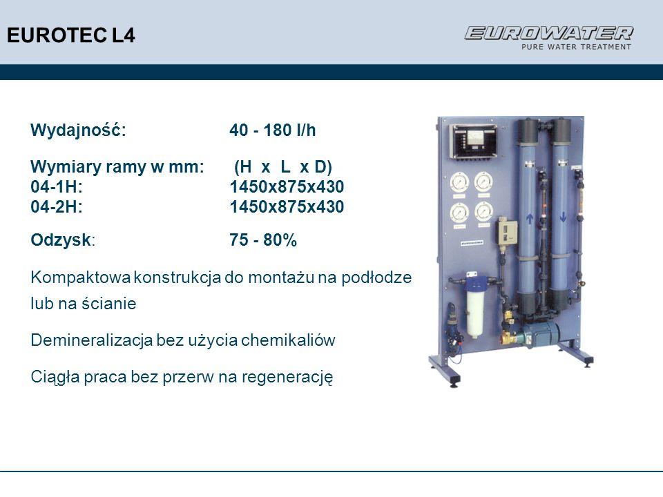 EUROTEC L4 Wydajność: 40 - 180 l/h Wymiary ramy w mm: (H x L x D)