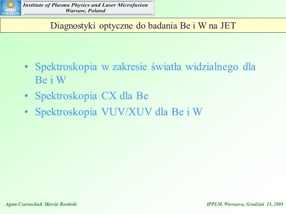 Diagnostyki optyczne do badania Be i W na JET