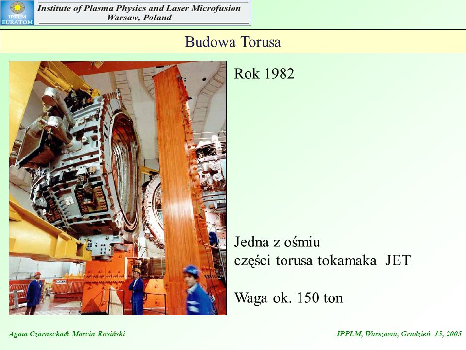części torusa tokamaka JET Waga ok. 150 ton