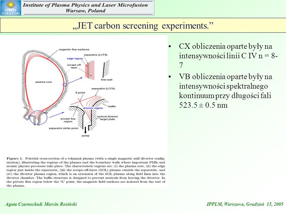 """JET carbon screening experiments."