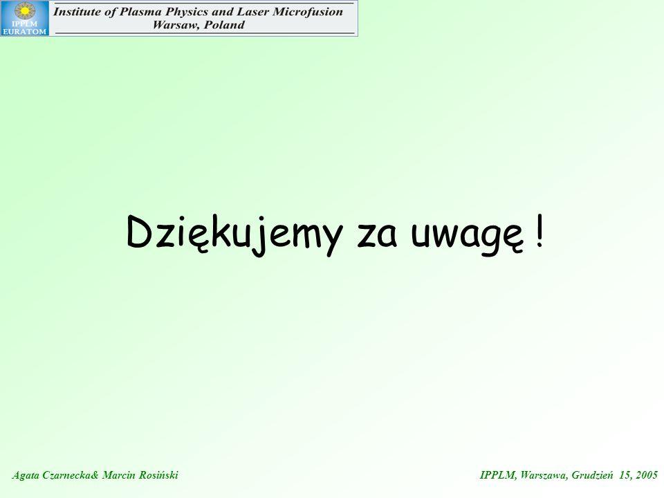 Dziękujemy za uwagę !Agata Czarnecka& Marcin Rosiński IPPLM, Warszawa, Grudzień 15, 2005.