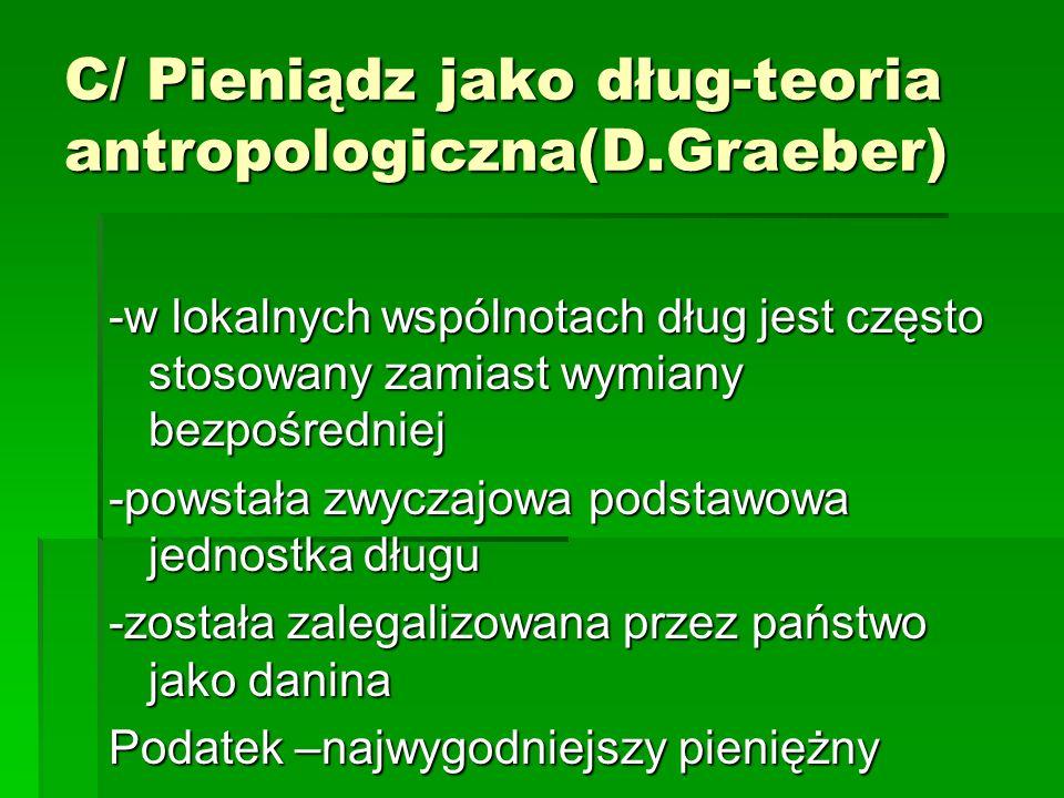 C/ Pieniądz jako dług-teoria antropologiczna(D.Graeber)