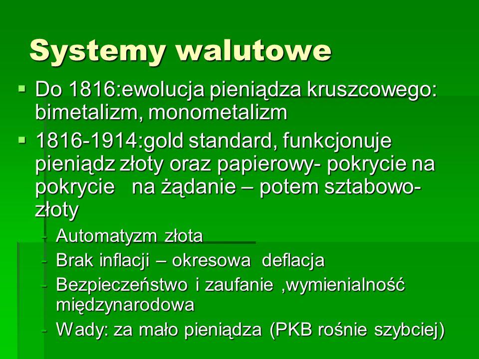 Systemy walutowe Do 1816:ewolucja pieniądza kruszcowego: bimetalizm, monometalizm.